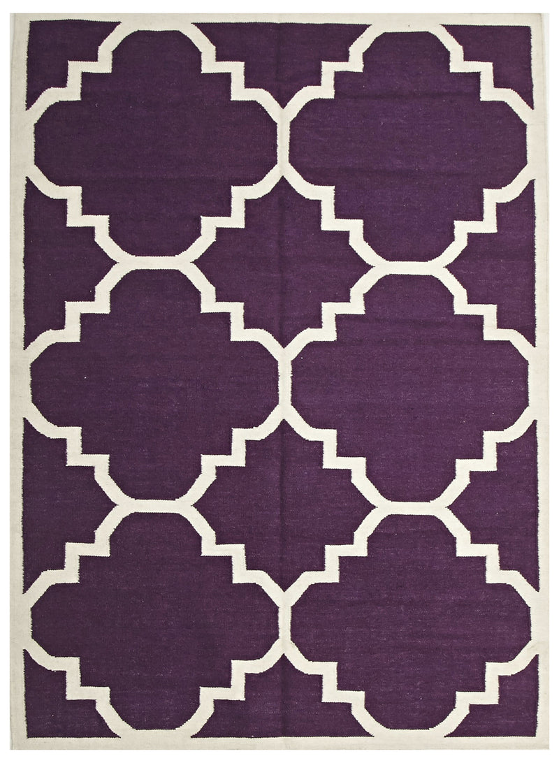 Flat Weave Large Moroccan Design Rug Aubergine - MaddieBelle