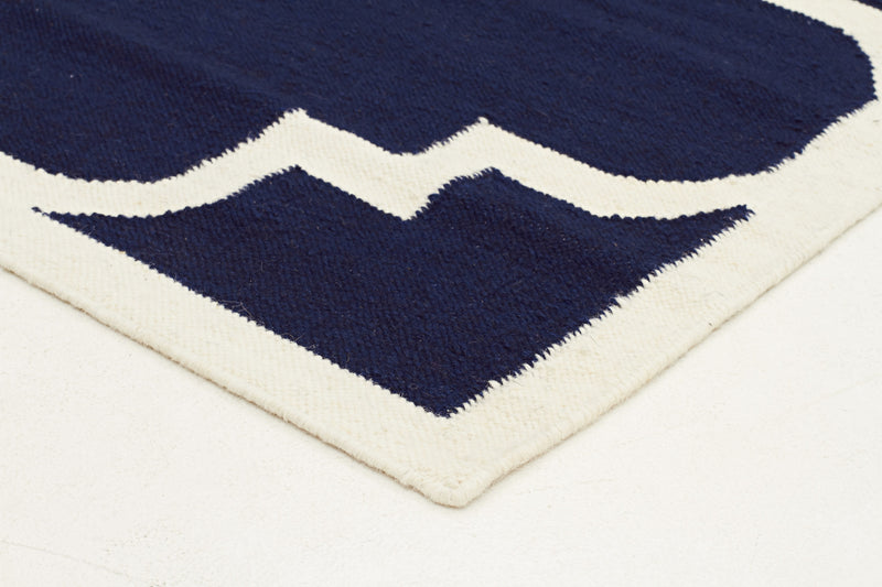 Flat Weave Large Moroccan Design Rug Navy - MaddieBelle