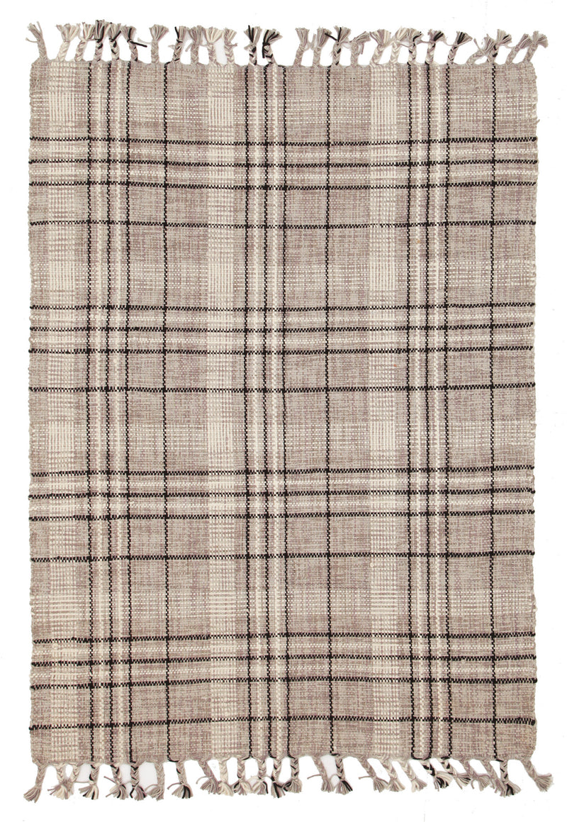 Striped Cotton & Wool Flat Woven Grey Rug - MaddieBelle