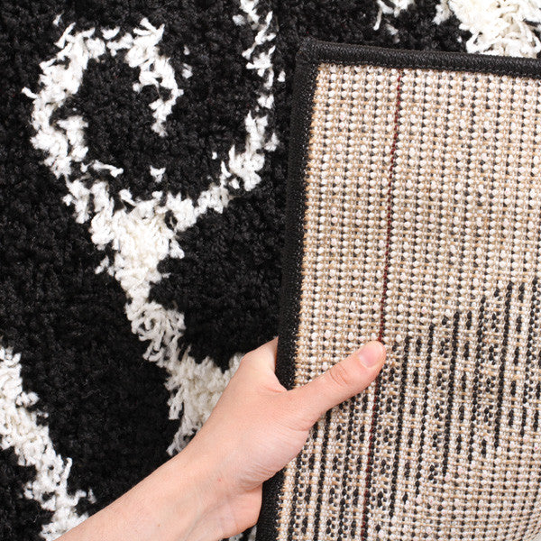 Damask Design Shag Rug White Black - MaddieBelle