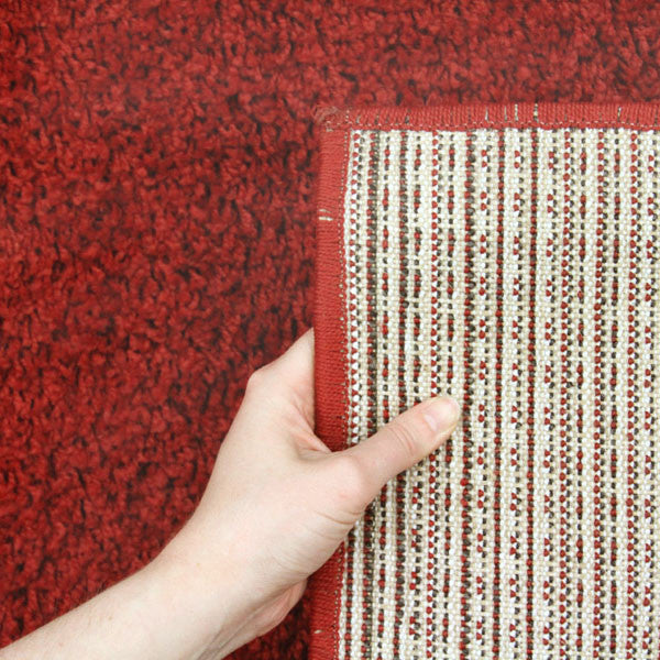 Red Funky Plain Shag Rug