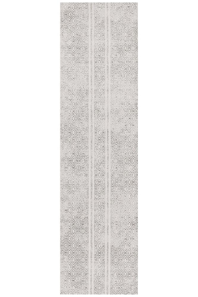 Oasis Salma White And Grey Tribal Runner Rug - MaddieBelle