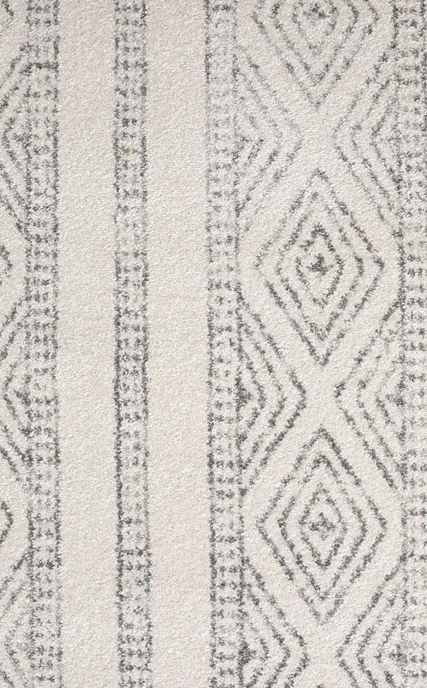 Oasis Salma White And Grey Tribal Rug - MaddieBelle