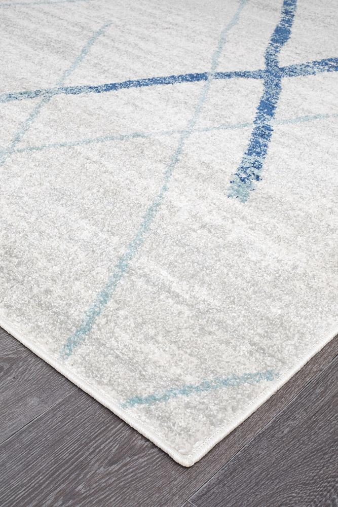 Oasis Noah White Blue Contemporary Runner Rug - MaddieBelle