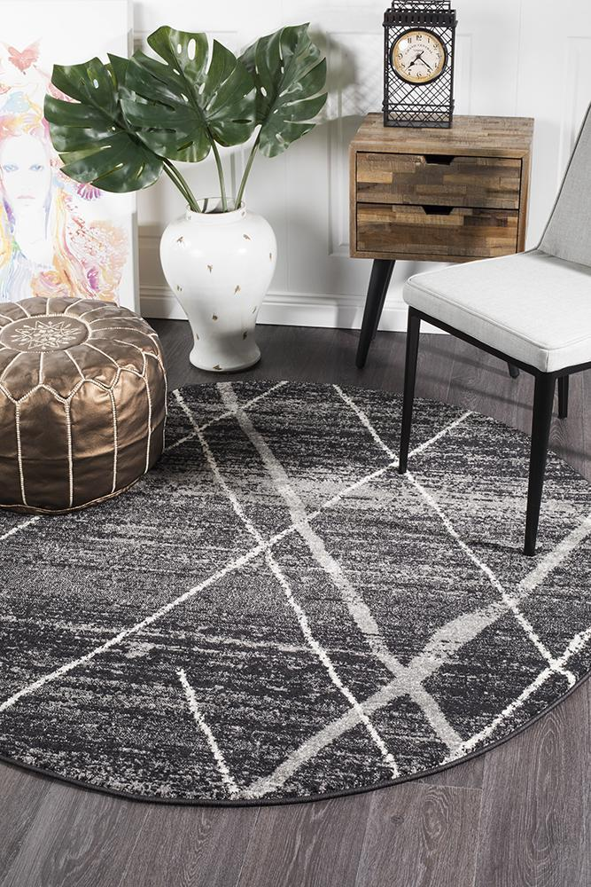 Oasis Noah Charcoal Contemporary Round Rug - MaddieBelle
