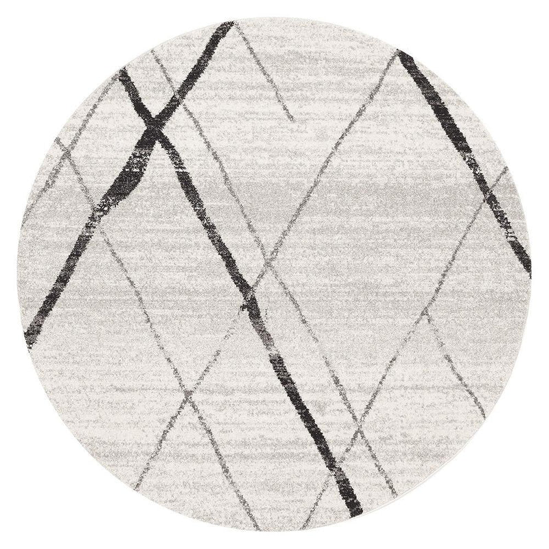 Oasis Noah White Grey Contemporary Round Rug - MaddieBelle