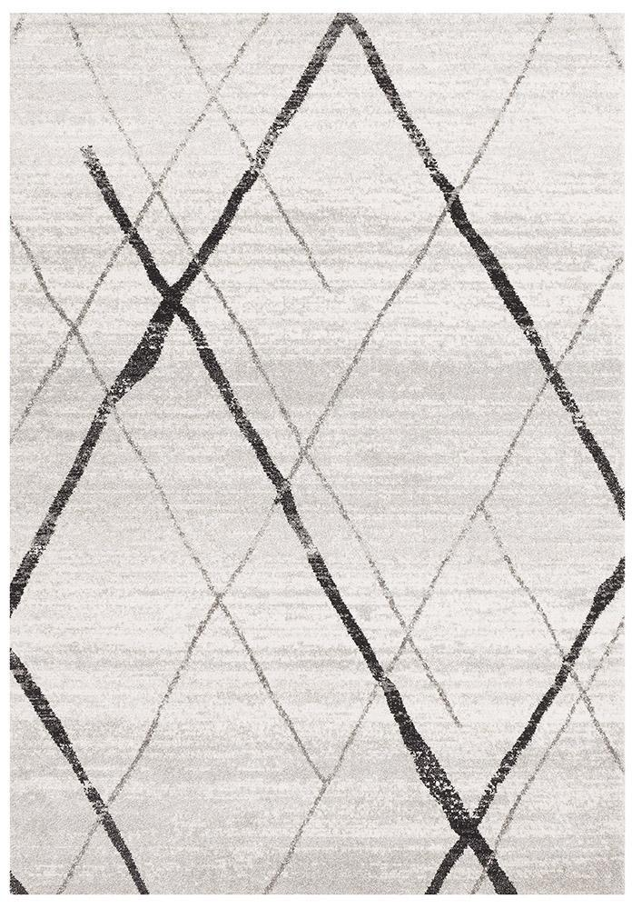 Oasis Noah White Grey Contemporary Rug - MaddieBelle