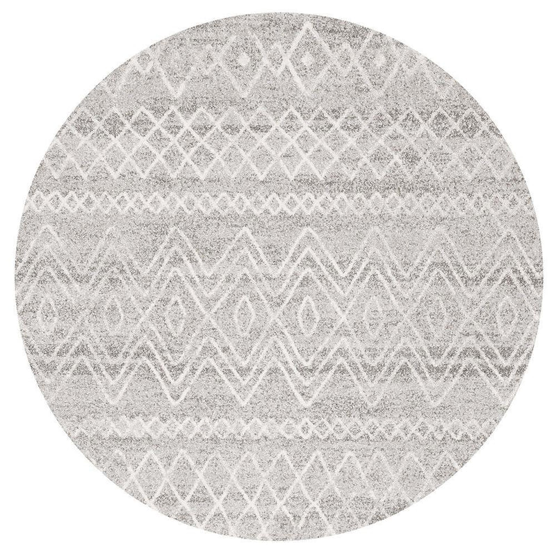 Oasis Nadia Grey Rustic Tribal Round Rug - MaddieBelle