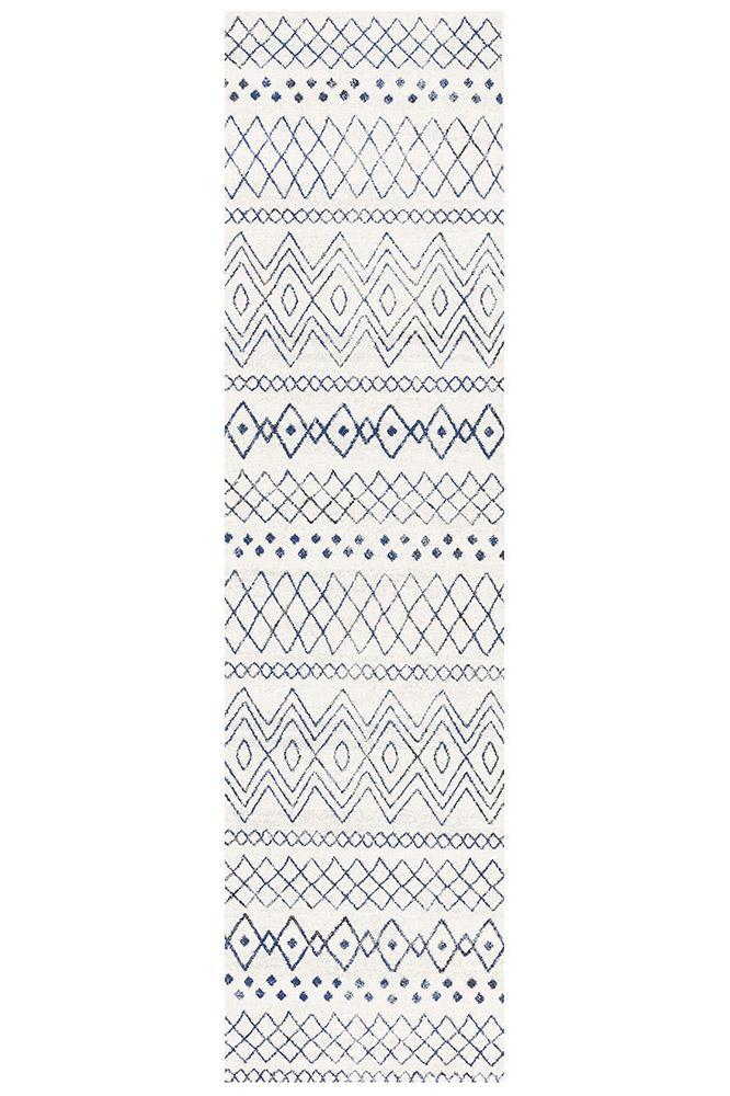 Oasis Nadia White Blue Rustic Tribal Rug - MaddieBelle