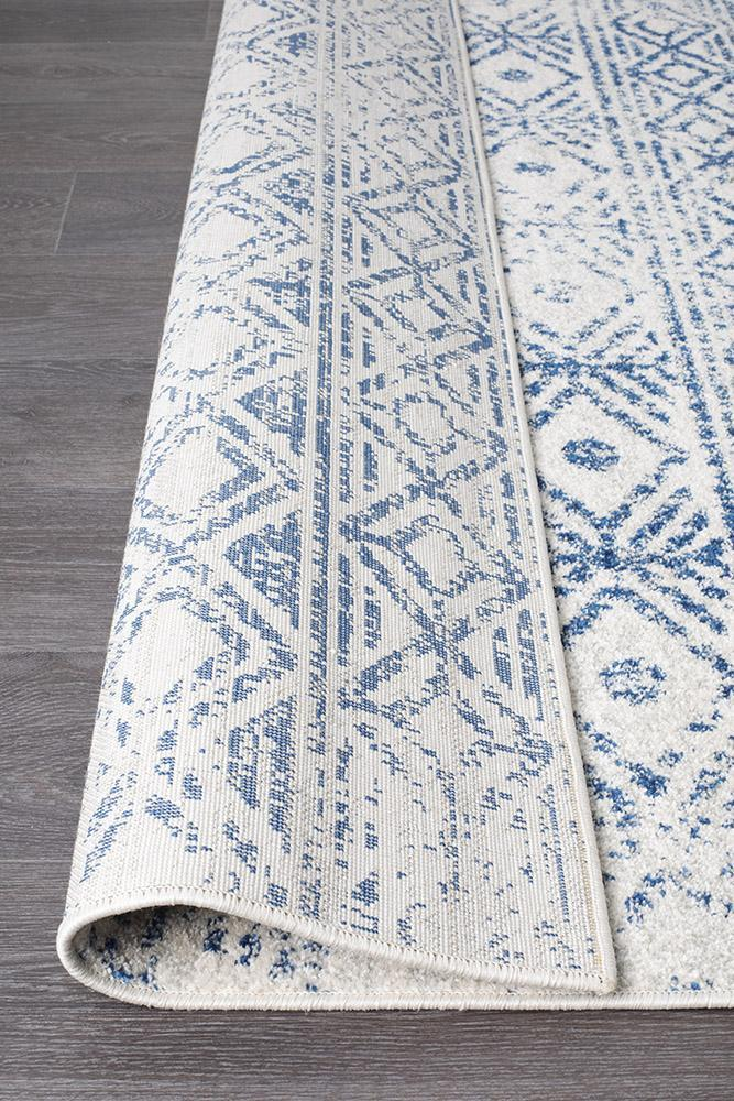 Oasis Ismail White Blue Rustic Rug - MaddieBelle