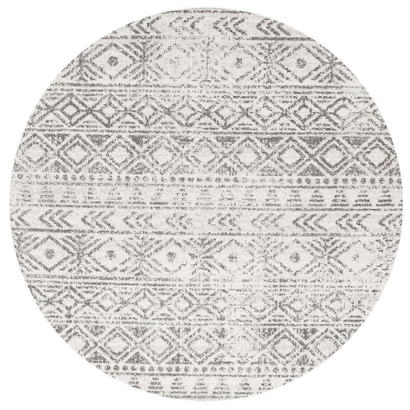 Oasis Ismail White Grey Rustic Round Rug - MaddieBelle