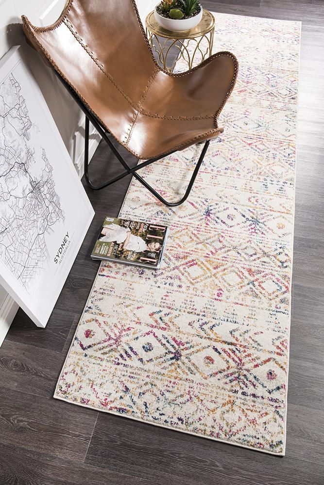 Oasis Ismail Multi Grey Rustic Runner Rug - MaddieBelle