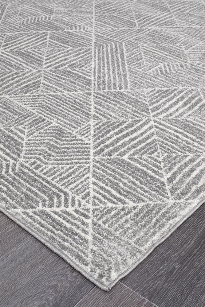 Oasis Kenza Contemporary Silver Runner Rug - MaddieBelle