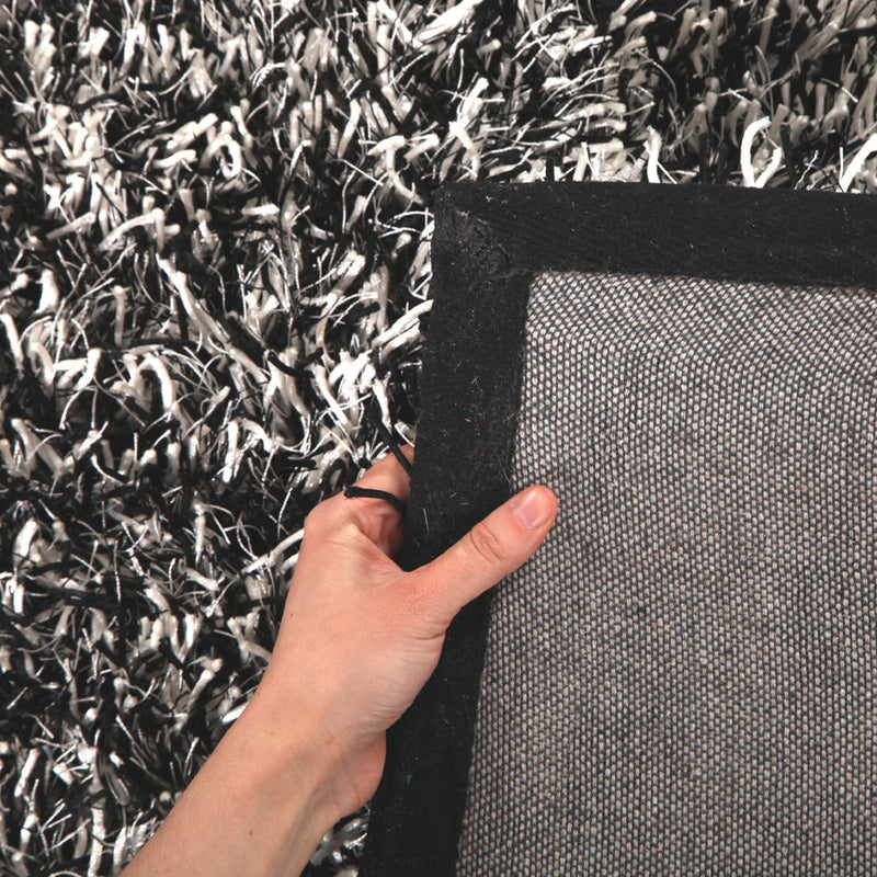 Metallic Thick, Thin Shag Rug Black, Off White - MaddieBelle