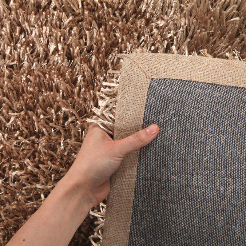 Metallic Thick, Thin Shag Rug Champagne