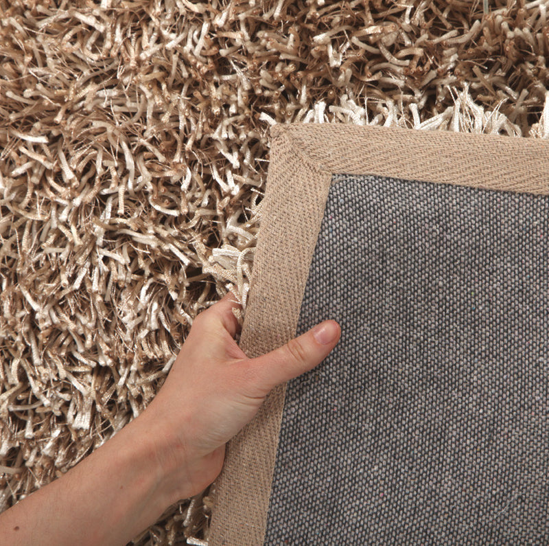 Metallic Thin Cream Shag Rug - MaddieBelle