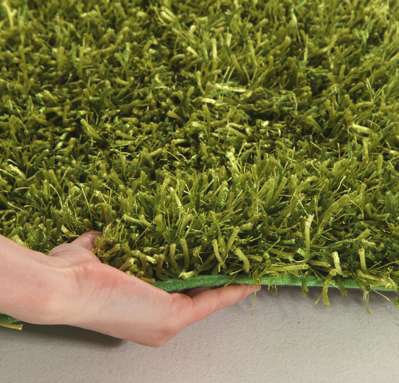 Metallic-Thin-Lime-Shag-Rug