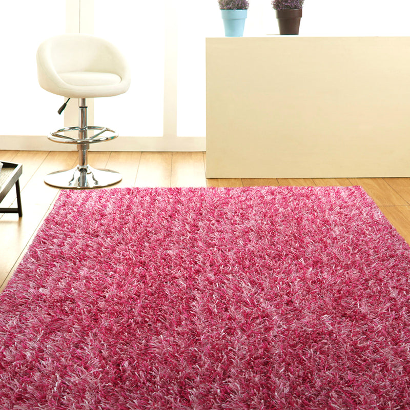 Metallic Thin Pink Shag Rug
