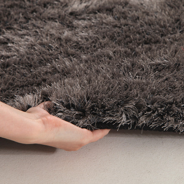 Plush Luxury Round Shag Rug Charcoal - MaddieBelle