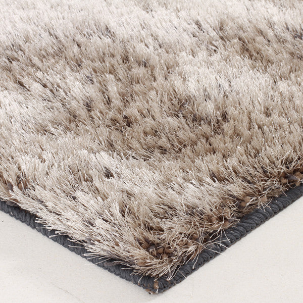 Plush Luxury Round Shag Rug Silver Taupe Mix