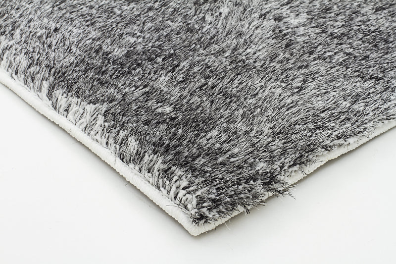 Plush Luxury Round Shag Rug Black White Mix - MaddieBelle
