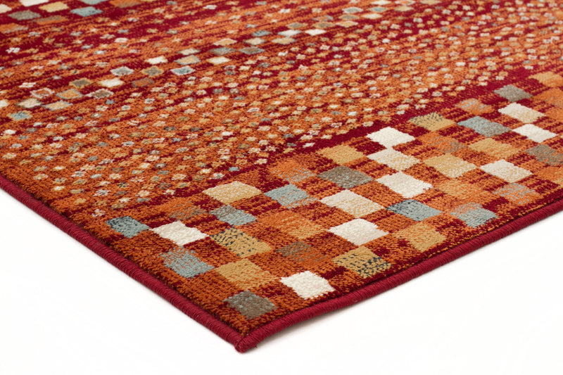 Mayfair Squares Runner Rust Rug - MaddieBelle