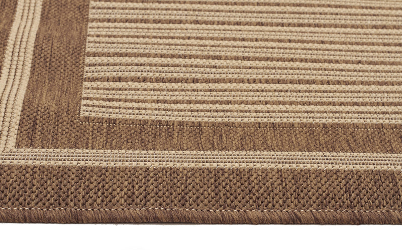 Indoor Outdoor Border Design Rug Brown