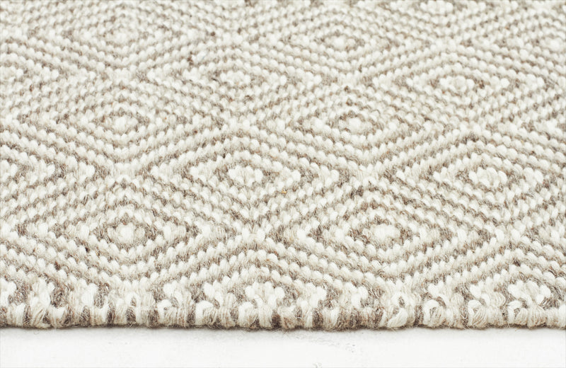 Silver Grey Diamond Wool Rug - MaddieBelle