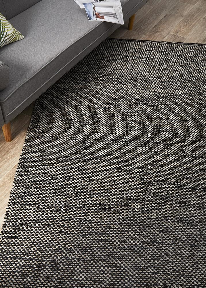 Livvy Charcoal Black Flat Weave Cotton Rug - MaddieBelle