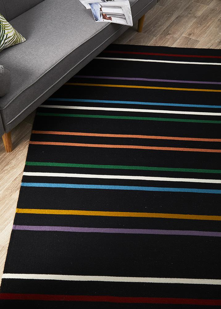 Oslo Stripe Flat Weave Black Multi Coloured Wool Rug - MaddieBelle