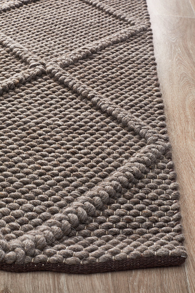 Oberg Wool and Viscose Diamond Grey Brown Rug