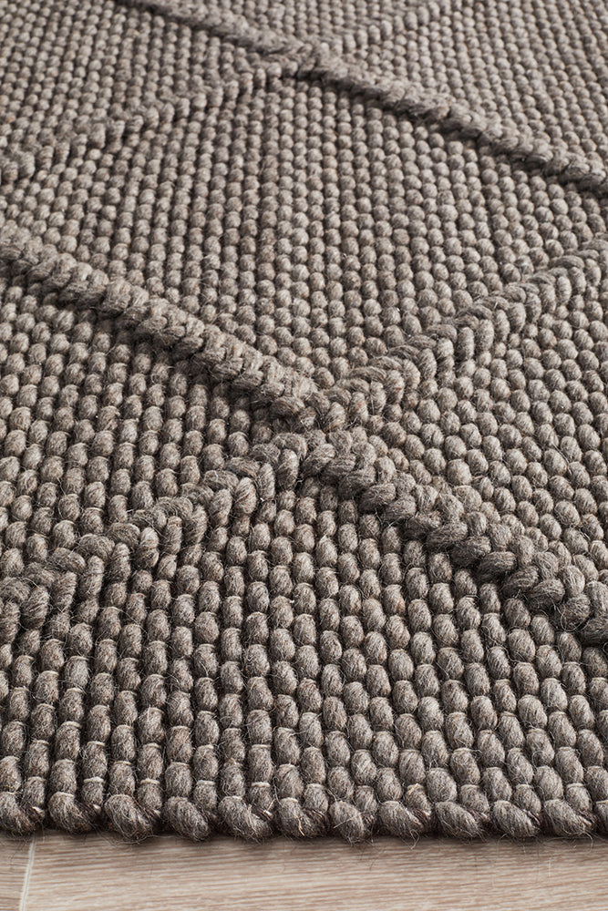 Oberg Wool and Viscose Diamond Grey Brown Rug - MaddieBelle