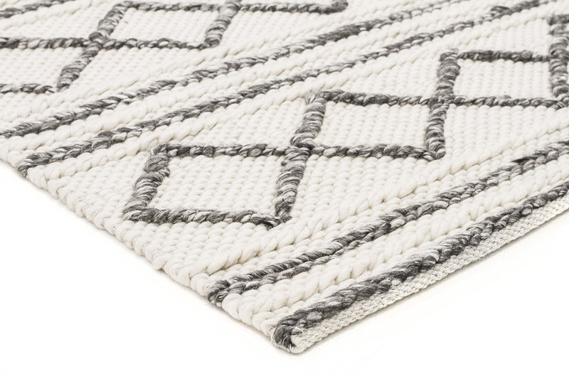 Milly Textured Woollen Rug White Grey - MaddieBelle