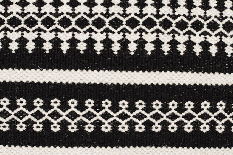 Ester Delicate Lace Woollen Rug Black - MaddieBelle