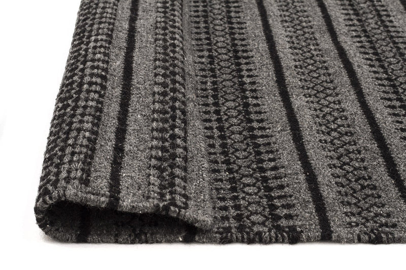 Ester Delicate Lace Woollen Rug Charcoal - MaddieBelle