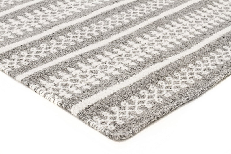 Ester Delicate Lace Woollen Rug Grey - MaddieBelle
