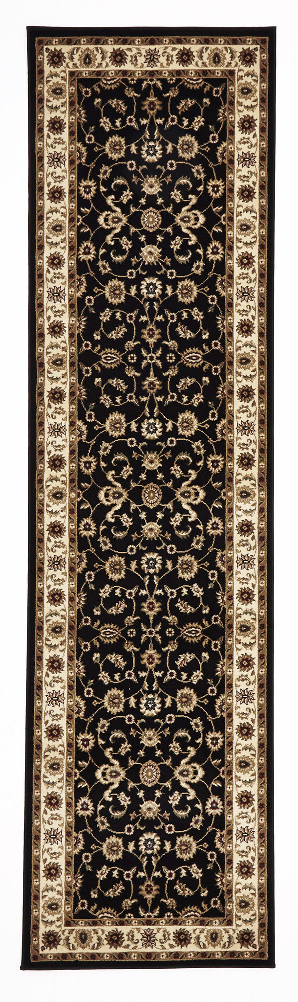 Classic Rug Black with Ivory Border - MaddieBelle