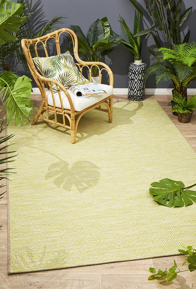 Terrace Clara Diamond Rug Lime Green - MaddieBelle