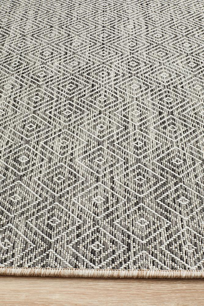 Terrace Clara Diamond Rug Grey - MaddieBelle