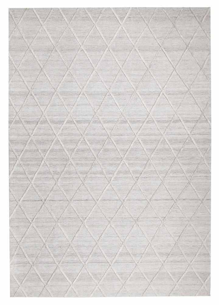Lattice Wool & Viscose Grey Rug