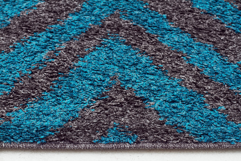 Domino Shag Rug Charcoal and Blue - MaddieBelle