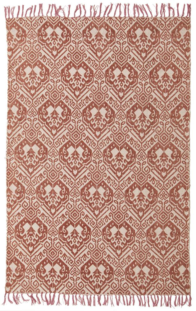 Hand-Loomed Passel Pink Cotton Rust Rug - MaddieBelle