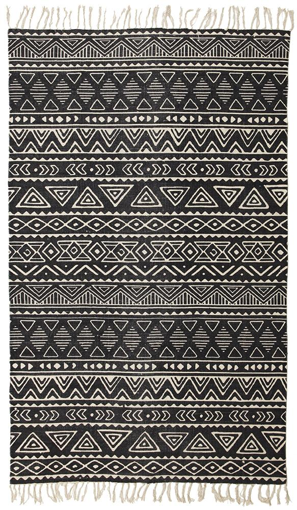 Tribal Cotton Flatweave Black Rug Maddie Belle Rugs Free Shipping