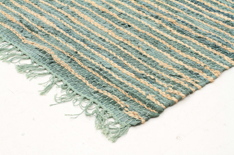Bondi Leather and Jute Rug Aqua - MaddieBelle