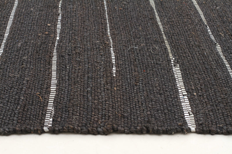 Saville Black Jute and Leather Rug