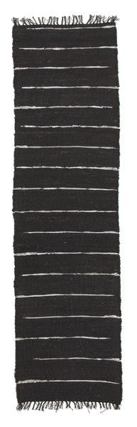 Saville Black Jute & Leather Runner Rug