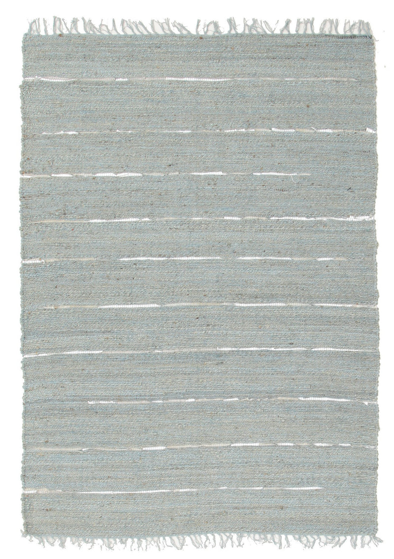 Saville Blue Jute & Leather Rug