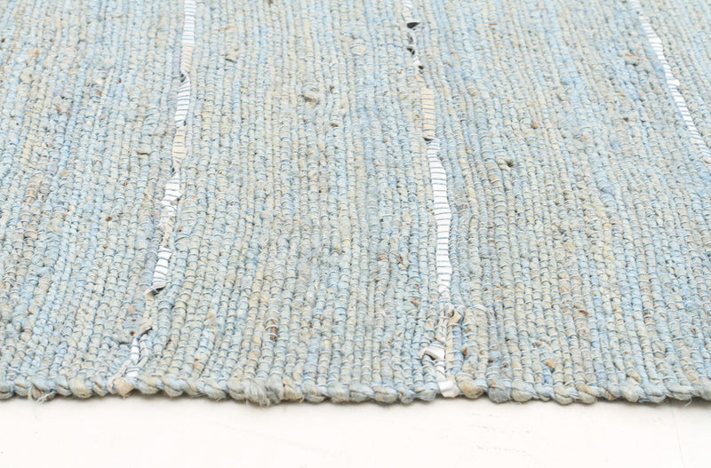 Saville Blue Jute and Leather Rug - MaddieBelle
