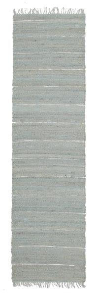 Saville Blue Jute and Leather Runner Rug