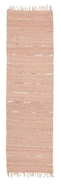 Saville Pink Jute & Leather Runner Rug